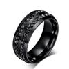 Fashion stainless steel jewelry 4 colors diamond rings Korean titanium steel men's wedding band mens rings