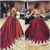 Elegant Gold Lace Quinceanera Dresses Lace up Back Appliques Sweetheart Burgundy Satin Prom Ball Gowns Sweet 16 Dresses Party Gowns