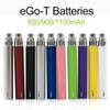 Full Ego t Battery Ego-t Batteries 510 Thread Atomizer Clearomizer Vaporizer Mt3 CE4 CE5 CE6 650 900 1100mAh In Stock Fast Shipping
