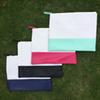Wholesale Blanks Cotton Canvas PU faux leather Patchwork Joint Cosmetic Bag Makeup Bag with Different Colors DOM103317