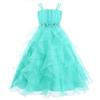 Girls Pageant Dresses 2017 Spaghetti Straps Turquoise Organza A-line Flower Girls Gowns Ruffles Little Kid Birthday Dress
