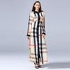 Hot Selling Plus Size 7XL Polyester Plaid Print Dress Stand Collar Long Sleeve Ankle Length Ladies Fashion Shirt Dress
