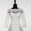 Best Seller Wedding Jacket with Sleeves 2019 Boat Neck Appliqued Lace Bridal Jacket Bolero 3 4 Sleeves Buttons Back Custom Made