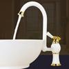 Bathroom Basin Faucet with single hole Single Handle ,Grilled white  rose golden paint sink faucet Bathroom Multifunctional wrench