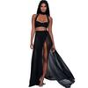 Women Hollow Out Long Maxi Dress Two Piece Set Sexy Summer Crop Top And Skirts 2 Piece Suit 2017 Chiffon Dress Set