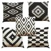 Black and White Lattice Linen Cushion Cover Home Office Sofa Square Pillow Case Decorative Cushion Covers Pillowcases Without Insert(18*18)