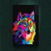 Modernism Abstract Canvas Art Dazzle Colour Wolf Painting Print on Canvas Wall Art Decor Animal Canvas Poster Pictures for Living Room