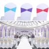 Chair Sashes Bands Wedding Spandex Stretchable Polyester Elastic Removable w Buckle for Home Hotel Banquet Decoration
