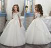 2017 Elegant Ivory Half Sleeve Boat Neckline Holy First Communion Flower Girls Dresses Appliques Tulle Girls Pageant Dresses