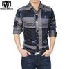 Wholesale- Plus Size New Brand Men Camisas Plaid Dress Shirts Slim Fit Casual Mens Shirts Long sleeves Mens Business Shirts