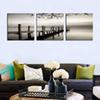 3 Panels Black and White Landscape Painting Wooden Bridge Giclee Artwork Picture Printed Wall Art Wooden Framed For Home Decor Ready to Hang