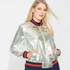 Wholesale- Jackets women European and American fashion trend of wild metal color PU baseball coat G1222