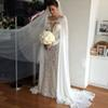 Elegant 2019 Wholesale 115'' Chiffon Wedding Wraps Appliques Lace Long Bridal Cloak Lace Bridal Wedding Cape