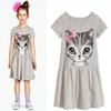 New Summer Girls Dresses Cat Print Grey Cotton Casual Baby Girl dress Children Clothing Kids 0-8 years pink child clothes short sleeve