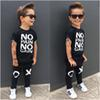 fashion boy's suit Toddler Kids Baby Boy Outfits black hot Clothes No pain no gain letters printed T-shirt Top+XO Pants 2pcs cool child sets