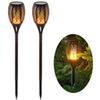 2PCS Solar Lights Waterproof Flickering Flames Torches Lights Outdoor Landscape Decoration Lighting Dusk to Dawn Auto On Off Security Torch