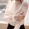 New Womens Tops Fashion Women Summer Hollow Out Blouse Plus Size Lace Long Sleeved Casual Shirt Free Shipping