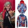 Male Zipper Hood Outer Wear With Bengal Tiger 3D Print Jacquared Hat Jacket Elastic Cuffs Luxury Design Lightweight
