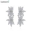 LUOTEEMI Wholesale Luxury Sparkling Clear Cubic Zircon Diamond Bridal Latest Design Rhodium White Gold Wedding Jewelry Drop Earrings