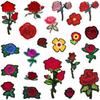 22pcs set Rose Flower Embroidered Patches Sewing Iron On Applique For Cloth Badge Motif