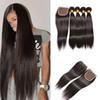 3 Bundles Silky Straight Peruvian Brazilian Virgin Hair Extensions With Top Lace Closure 4x4 body wave Unprocessed Remy Human Hair Weave