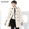 Wholesale- URSMART paragraph double-breasted men fall dust coat grows in men's windbreaker white original authentic trench coat