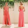Coral Country Bridesmaid Dress Chiffon Side Slit Backles Women Wear Formal Maid of Honor Dress Wedding Party Gown Prom Evening Dress