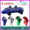 500pcs Transparent 4 color Wireless Bluetooth Game Controller Joysticks Gamepads Controller Compateble For P3 controller ZY-PS-04