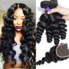 Mink Brazilian Virgin Hair Loose Wave With Closure Brazilian Hair Bundles Loose Curly Human Hair Weave 4 Bundles With Closure More Wavy