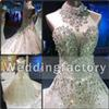 Luxurious Sparkly Wedding Dress High Neck Sleeveless Glitter Crystals Rhinestones Lace Appliques Big Train Illusion Back Bridal Gowns