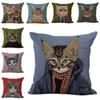 Miss Gentleman Cat Pillow Case Cushion cover Linen Cotton Throw Pillowcases sofa Bed Pillow covers DROP SHIPPING