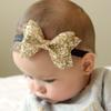 NEW Infant Baby Girls Big Glitter Shiny Sequin Bow Headbands Knot Toddler Spring Stretchy Hairwrap Children's Princess Hair Accessories XMAS