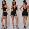 Lace up vintage women Backless short Jumpsuit party sexy Romper retro midi dress Pencil skater bodycon Shorts Pants evening