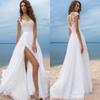 Luxury Beach Boho Wedding Dresses Short Sleeves Cheap Chiffon Long Bridal Gowns High Side Slit Backless robe de mariee Sheer Neck