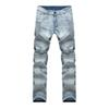 Wholesale-male Biker Jeans destroyed denim fabric elastic Slim Fit Washed Denim skinny Pants Joggers Skinny Men ripped trousers