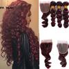 Burgundy Malaysian Hair loose Red Brazlian Human Virgin Hair 3 Bundles With Closure Relaxed Extension Loose Weave Closure