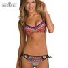 YKS008 Hotapei women Bikini Set Retro Ethnic Printed Strappy Swimsuit 2017 hot sexy Bandage Push Up Padded Bra Bathing Suits