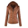 Women's PU Leather Jacket Hooded Lapel Zipper Pockets Removable Jackets Coat Plus Size S-7XL