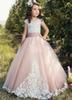 2019 Flower Girl Dresses For Weddings tulle pink Applique Cap Sleeve Kids Ball Gown bow First Communion Dress Pageant Gowns