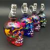 NEW Colorful skull glass smoking pipes Flower skull bongs Filter glass pot of water pipe 125mm height 4 colors