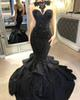 Black Long Evening Dresses Satin Mermaid 2017 Jewel Satin Lace Applique Tiered Arabic Prom Party Gown Vestido Special Occasion Dresses