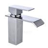 304 Stainless Steel Bathroom Sink Faucets Waterfall Spout Nickel Brushed Single Handle Hole Hot Cold Mixer Deck Mount Basin Taps SSMP005