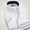 Wholesale- Port&Lotus Men Dress Shirts Short Sleeve Solid Color With Black Line Turn Down Collar Mens Clothing Camisa Wholesale
