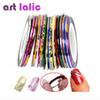 Wholesale-30Pcs 30 Multicolor Mixed Colors Rolls Striping Tape Line Nail Art Decoration Sticker DIY Nail Tips