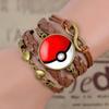 7 Colors Poke Bronze Leather Bracelet Glass...