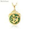 (167P) M.G.Fam Chinese Ancient Mascot Dragon Pendant Necklace 24K Gold Plated Green Malaysian Jade with 45cm Chain