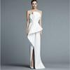 Unique Strapless White Evening Gown Floor Length Fashion With Pleats Middle Split Women Formal Evening Dresses