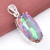 5 Pcs 1 lot LuckyShine Best Price Oval Dazzling Rainbow Mystic Topaz Crystal 925 Sterling Silver Wedding Pendants Russia American Australia
