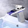 LED Light Waterfall Basin Faucet for Bathroom Full Copper Automatic Led Finish Colorful Mixer Tap Bathroom Sink Faucets