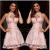 Sweety Pink Applique Lace Cocktail Dresses 2017 Sheer High Neck Sleeveless Above Knee Length Homecoming Graduation Gowns Short Party Dress